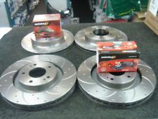 MITSUBISHI GTO TURBO CROSS DRILLED GROOVED BRAKE DISC & PADS FRONT REAR