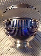 ANTIQUE  GORHAM STERLING SILVER COBALT GLASS LINED PIERCED SUGAR BASKET