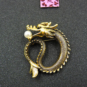 Betsey Johnson Gold Enamel Pearl Lovely Dragon Charm Woman Brooch Pin