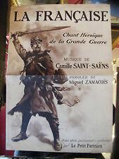 Partitura Los Franceses Chant Heroica de La gran guerra Saint Saens 1915