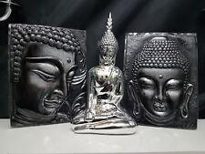 Buddha Relief silber glänzend Feng shui Meditation PVC adhesive 3D Wandtattoo