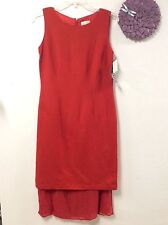 Halmode Petites womens dress size 10P red linen rayon fully lined new 44