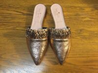 KATE SPADE NEW YORK BEATRIZ ROSE GOLD LEATHER MULE SHOES NWOB SIZE 9