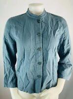 Eileen Fisher Women's MP Blue Cotton Button Front Shirt Elbow Sleeve