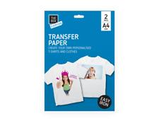 2x A4 T-Shirt Transfer Paper. Iron On Print Light Fabric Inket Heat Press Logo