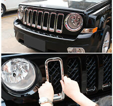 Chrome Grille Grill Kit Insert Vent Hole Frame Fit For Jeep Patriot 11-16 S