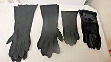 Older 4 Pair Various Black Evening and Dress Gloves-Cloth,Velvet