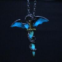 Creative Luminous Glow In The Dark Dragon on Sword Pendant Necklace Jewelry KV