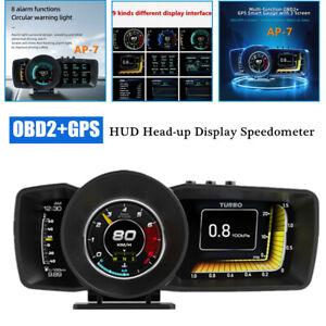 OBD2+GPS Dual Mode Car HUD Head-up Display Speedometer Driving Computer 3 Screen