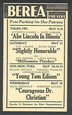 1940 BEREA OH THEATRE SHOWS ABE LINCOLN IN ILLINOIS W/R MASSEY & R GORDON ETC