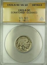 1921-S Buffalo Nickel 5c ANACS VG-10 Details Scratched Cleaned (Better Coin)