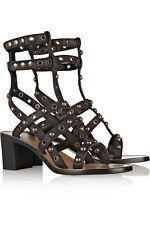 ISABEL MARANT Lester Black Leather Studded Gladiator Stacked Heel Sandals 39/8.5