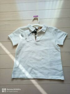 BURBERRY Children Boys White Cotton Polo Shirt 4 Years