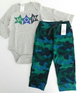 NWT Gap Baby Boy 2 Pc Set I Love Mom Bodysuit/Camo Joggers 12-18M Free Ship New