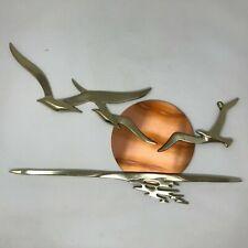 Vtg Solid Brass Seagulls Flying Flight Copper Sun Ocean Wall Art Mcm Decor Bijan