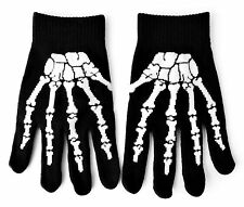 Skeleton Gloves Black Knitted Bone Design Halloween Style up to Adult Small Size