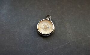 ANTIQUE SOLID SILVER FOB POCKET WATCH OR CHATELAINE SMALL COMPASS