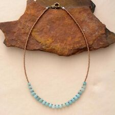 Beaded Amazonite Boho Choker Necklace Chakra Natural Stone Seed Beads Teardrop