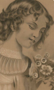 Marie Garnier (b.1870)- French School Graphite Drawing, Self Portrait as a Child