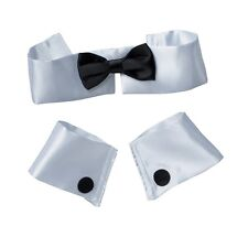 Corbata De Moño Cuello puños Stripper 3pc conjunto Topless camarero Butler Fancy Dress