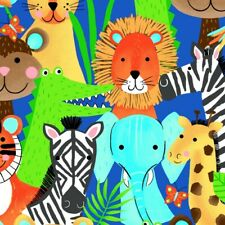 Fabric Baby Zoo Animals Safari Heads Full on Blue Flannel by the 1/4 yard