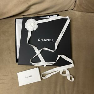 Authentic Chanel Gift Box 10.5x10.5x1 Inch/ribbon/Tissue/flower/card
