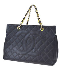 Auth CHANEL CC GST Quilted Chain Hand Bag Caviar Leather Black Vintage 21MD731