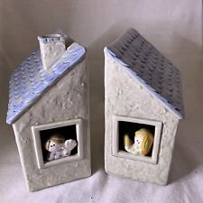Vintage Fitz & Floyd Ceramic Children's House Bookends (Ff, 1976)