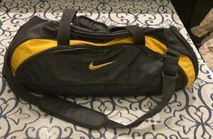 Vintage 90s Nike White Tag Gym Bag / Duffel Bag Yellow and Black Nylon