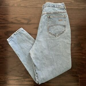 Vintage Chic 1980s Light Wash High Waisted Mom Jeans Tapered Leg Size 18 USA