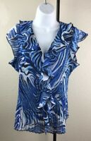 Womens Cato Top Size Medium Blue White Blouse Button Front w/ Ruffles Black