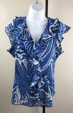 Womens Cato Top Size Medium Blue White Blouse Button Front w/ Ruffles Black
