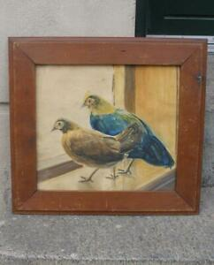 19th century watercolour. Two hens on window sill. Framed.