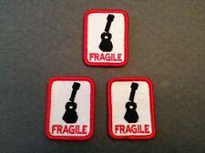 FRAGILE Patch for Ukulele or Guitar Case - Set of 3 decal sticker embroidered