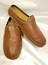 LL Bean Mens Shoes size US 10 Medium Brown Leather Slip On Slippers Plush Soft
