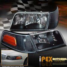 98-11 Ford Crown Victoria Police Interceptor Black Headlight+Signal Corner Light