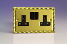 VARILIGHT 2 Gang 13amp Metal Georgian Roped Brass Switched Plug Socket Xg5b X 8