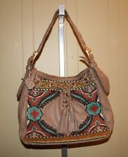 NWOT Fiora by Isabella Fiore Embroidered Leather Bag with Tassels Hobo Purse