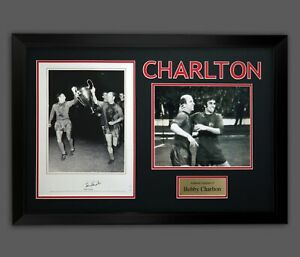 Bobby Charlton Hand Signed Manchester United Football Photograph in A Frame : A