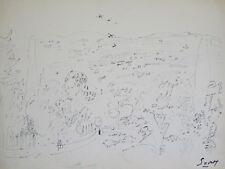 Robert SAVARY - Dessin au feutre signé - Etude de paysage