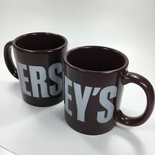 Lot of 2 Hershey's Brown Silver Coffee Mug Ceramic Chocolate Galerie Cocoa Cup