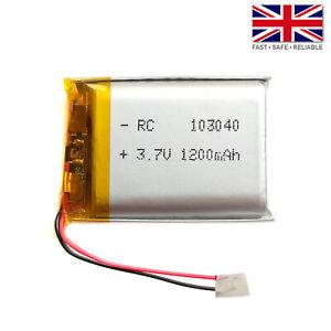 3.7V 1200mAh LiPo 1S Polymer Rechargeable Battery: GPS, MP3, Speaker - 103040