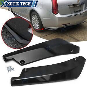 Gloss Black Rear Bumper JDM Fin Canard Splitter Lips For Cadillac Escalade CTS