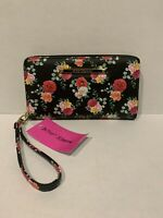 Betsey Johnson Black Floral Zip Around Wallet Wristlet New With Tags
