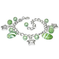 Light Green Pearl Glass Bead Star Charm Chain Bracelet nickel free jewellery UK