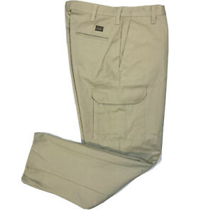 NWOT Cintas Mens Work Cargo Pants 270-62 Flat Front Comfort Flex Khaki Tan 34x34