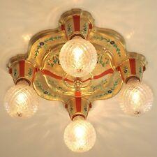 Vintage Antique Victorian Art Deco 4 Light Chandelier Flush Ceiling Fixture Gold