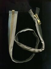 29 inch Warm Grey & Brass #10 Heavy Duty Separating Talon Zipper Vintage NOS