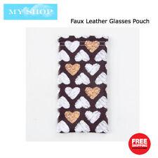 Faux Leather Sunglass Eyeglass Glasses Case Soft Pouch Snap Shut - Heart Pattern