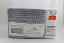 Posh Home 6 Piece King Sheet Set Gray Squares Embroidered Cases Premium